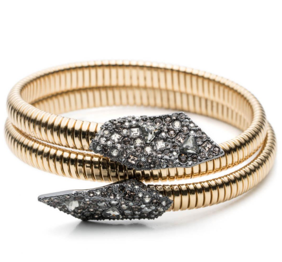 Alexis Bittar Metallic Crystal Encrusted Coiled Origami Bracelet