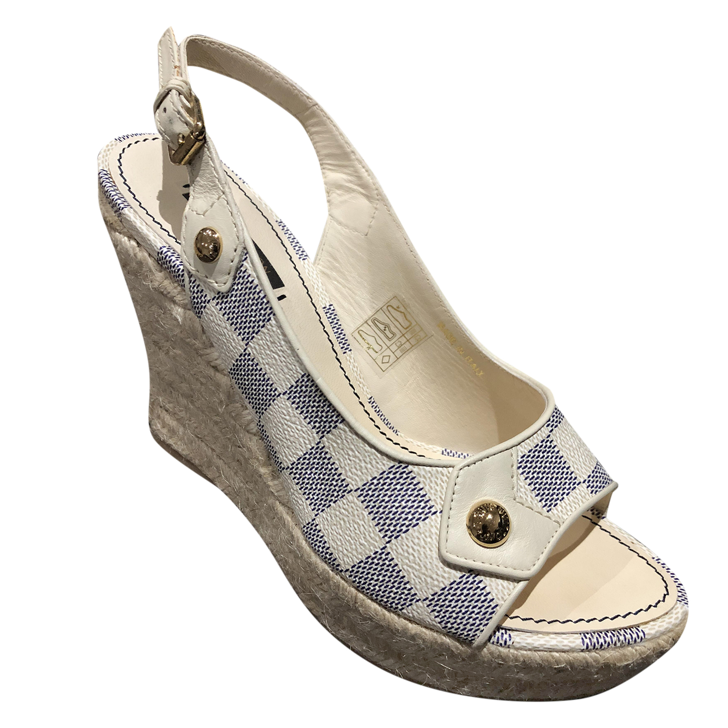 Louis Vuitton Coated Damier Espadrille Wedges