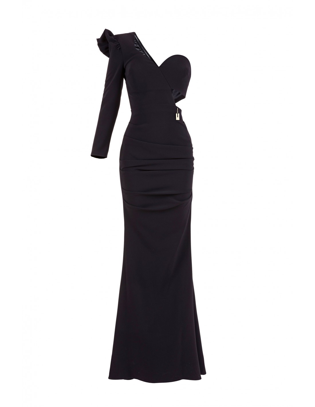 2db72011adcbdb Elisabetta Franchi One Shoulder Cutout Black Gown