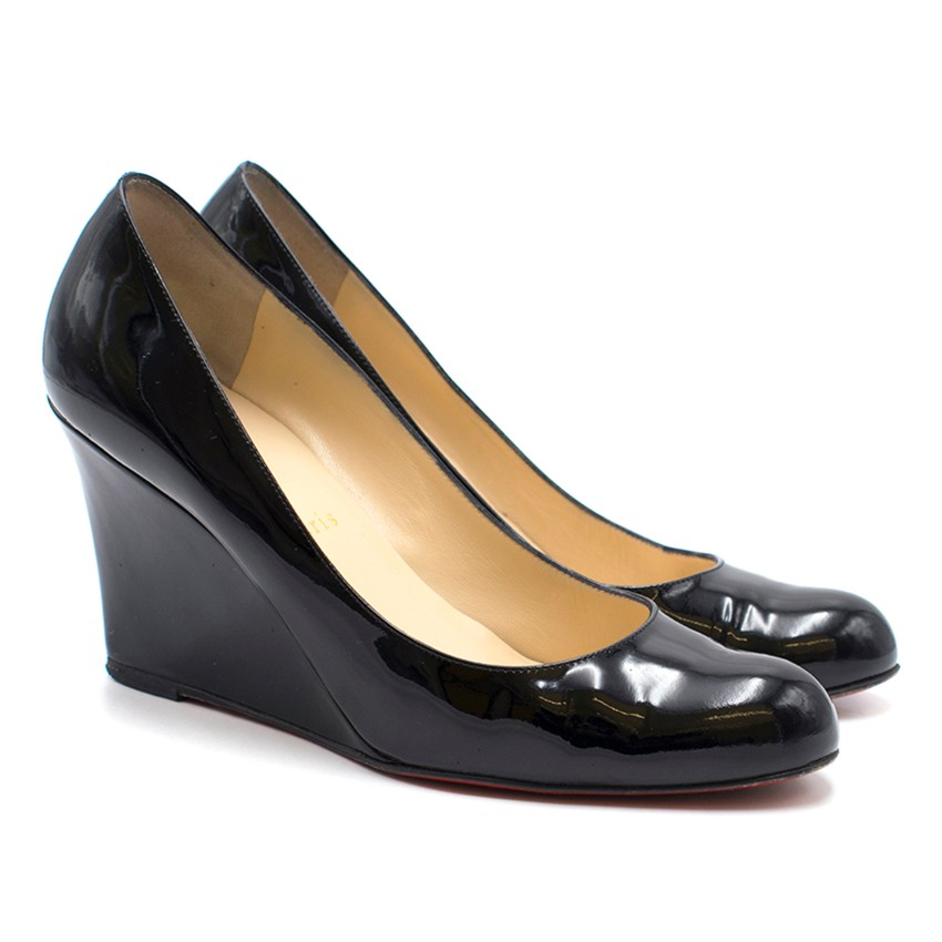 huge discount 1ae5e 132d0 Christian Louboutin Round Toe Patent Wedges