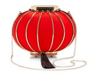 Charlotte Olympia Red Silk Lantern Clutch