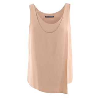 Balenciaga Silk Nude Sleeveless Asymmetric Top