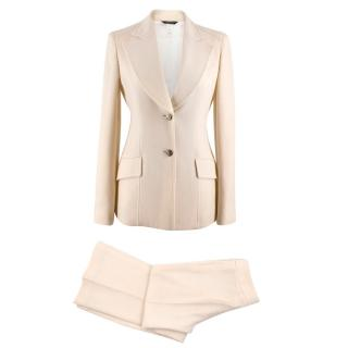 Versace Cream Wool Two Piece Suit