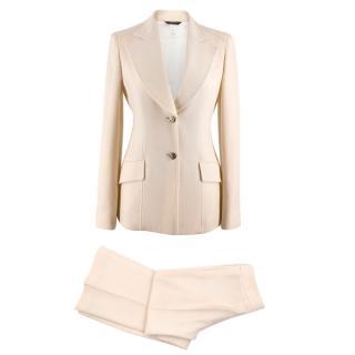 Versace Cream Wool Two Piece Suit