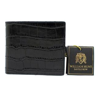 William Hunt Black Embossed Leather Bifold Wallet