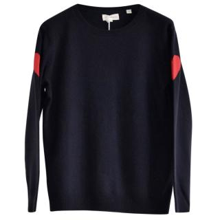 Chinti and Parker Heart wool and cashmere-blend navy jumper