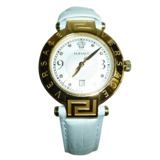 Versace White Leather & Yellow Gold  colour Dial Diamond Watch