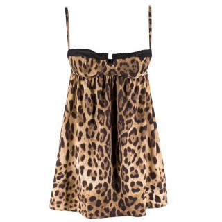 Dolce & Gabbana Leopard Print Satin Slip