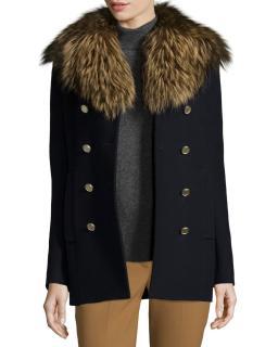Theory Overby Belmore Fox Fur Collar Virgin Wool Coat