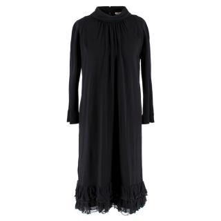 Balenciaga Black Crepe soft turtle neck Dress