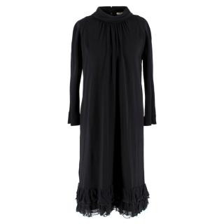 Balenciaga Black Crepe soft turtle neck Dress