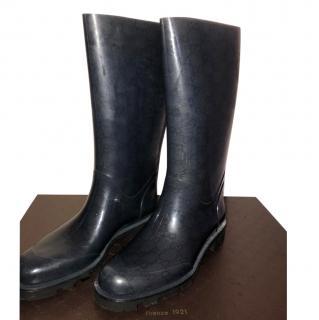 Gucci Black Monogram Rain Boots