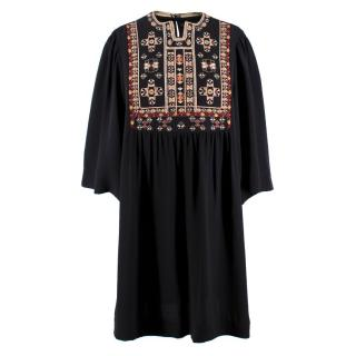 Isabel Marant Silk Embroidered Smock Dress