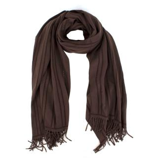 Bespoke Chocolate Brown Wool-blend Oversized Scarf