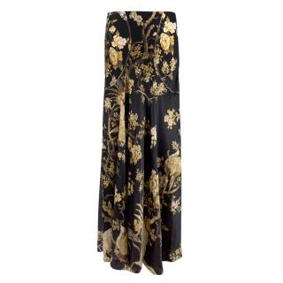 Roberto Cavalli Floral & Bird Printed Silk Maxi Skirt