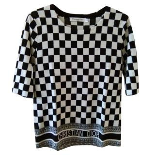 Christian Dior Crew Neck Printed Wool Top