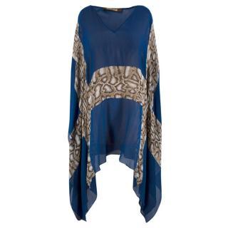Roberto Cavalli Silk Blue & Snake Print Sheer Kaftan