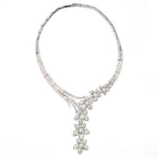 Butler & Wilson Crystal Flower Y Drop Necklace