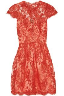 Issa coral silk-satin and lace cocktail dress