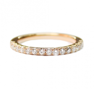 Lena Jewellery 18k pink gold diamond half band ring