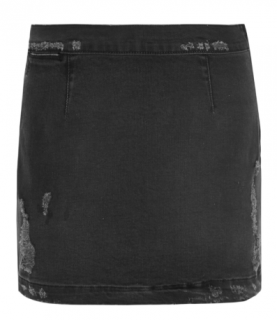 Frame Distressed Stretch-Denim Mini Skirt
