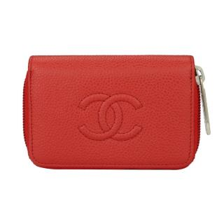 Chanel Red Caviar Coin Purse/ Small Zip Wallet