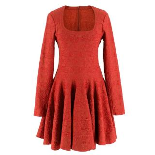Alaia Red Metallic Knit Skater Dress