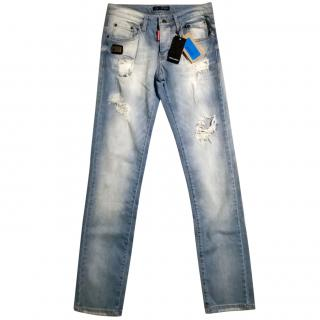 Dsquared2 Blue Denim Worn out Effect Jeans