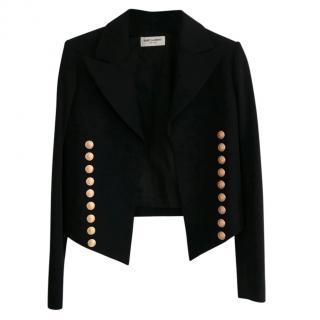 Saint Laurent Black Cropped Gold Anchor Button Jacket