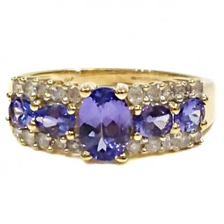 Bespoke Tanzanite & Diamond Cluster Ring 9ct Gold