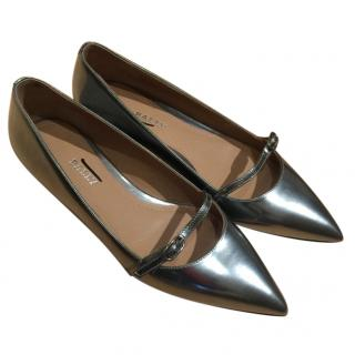 Bally Silver Pointed Flats