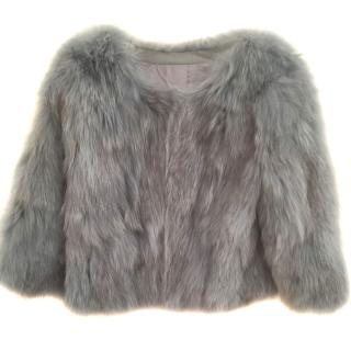 Bespoke Blue Fox Fur Jacket
