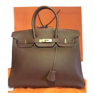 Hermes Togo Leather Havana Brown 35cm Birkin Bag