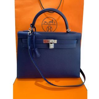 Hermes Epsom Leather Blue Sapphire 32cm Kelly Bag