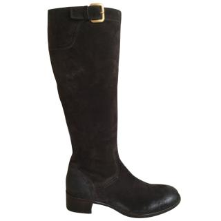 Prada Suede Riding Boots