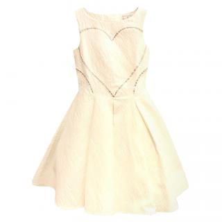 MonnaLisa Girls Couture Ivory Jacquard Dress