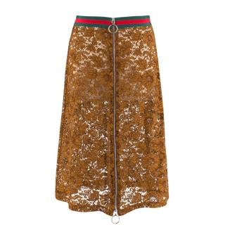 Gucci Brown Sheer Lace Zip-Front Midi Skirt