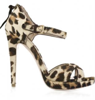Miu Miu Leopard Print Calf Hair Sandals