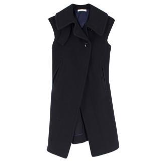 Celine Navy Wool Sleeveless Coat