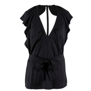 Burberry Silk Frilled Open Back Top