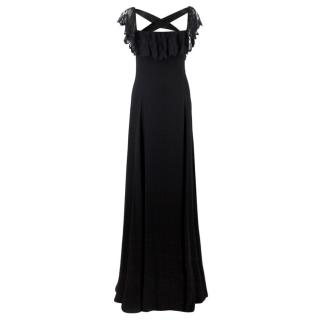 Valentino Black Lace Ribbon Tie Gown