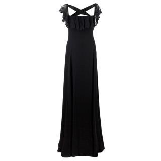 Valentino Black Lace Ribbon Tie Gown