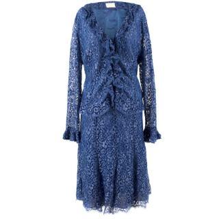 Caroline Charles Blue Lace Skirt and Blouse Set