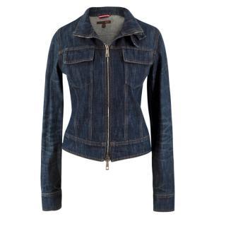 Bally Dark Wash Zipped Denim Jacket