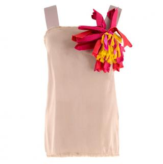 Lanvin Light Brown Silk Floral Embellished Top