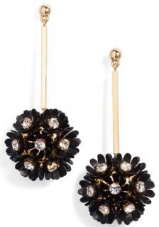 Lele Sadoughi Black Pearl Plumeria Earrings