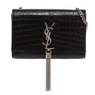 Saint Laurent Monogram Croc Embossed Kate Bag
