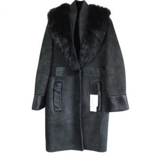 Kemit black fox fur collar shearling coat