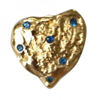 YSL Vintage Nugget Heart Gold Pin