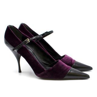 Prada Purple Velvet Toe Cap Pumps